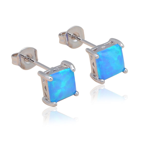Blue Fire Opal Post Earrings - Luna's Warehouse