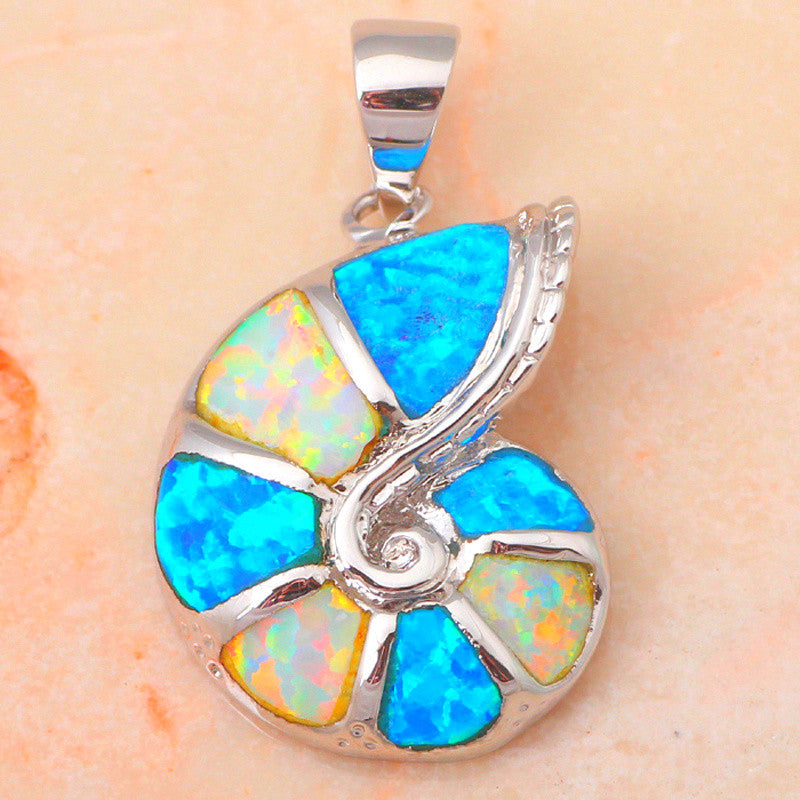 Fire Opal Sea Shell Pendant - Luna's Warehouse