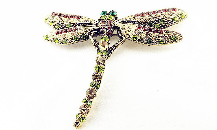 Dragonfly Rhinestone Brooch - Luna's Warehouse