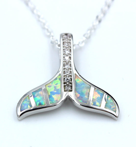 Embellished Fire Opal Whale Tail Pendant Necklace - Luna's Warehouse