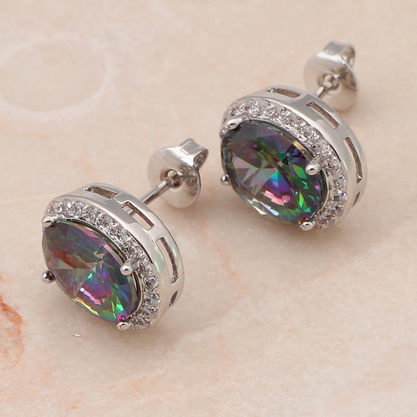 Embellished Rainbow Mystic Topaz Post Earrings - Luna's Jewelry Warehouse - 1