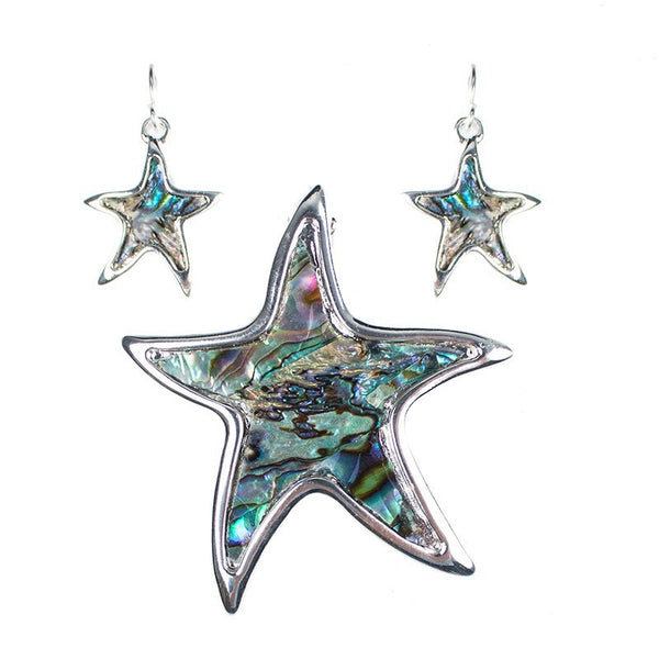 Abalone Starfish Pendant and Earring Set - Luna's Jewelry Warehouse - 1