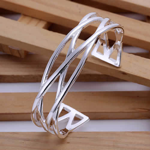Braided Silver Cuff Bracelet - Luna's Warehouse