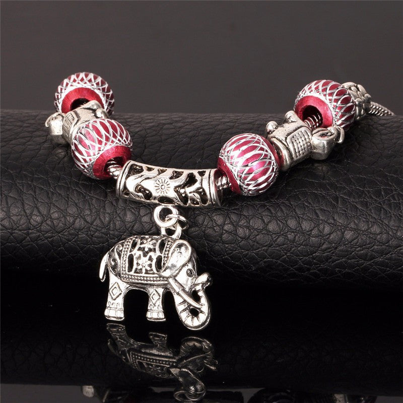 Red Beaded Elephant Charm Bracelet - Luna's Warehouse