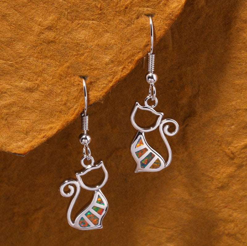 Cat Drop Earrings - Luna's Jewelry Warehouse - 4