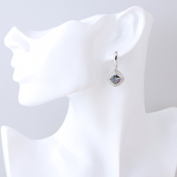 Embellished Rainbow  Mystic Topaz Drop Earrings - Luna's Jewelry Warehouse - 1