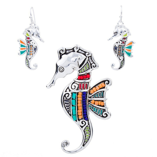 Beaded Sea Horse Pendant and Earring Set - Luna's Warehouse