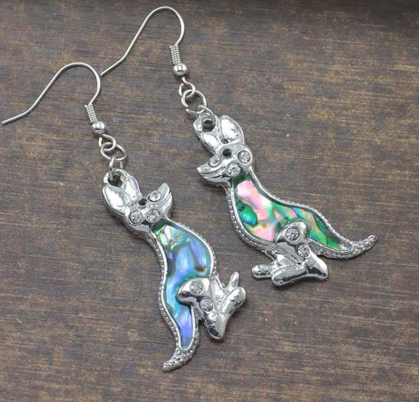 Kangaroo Abalone Drop Earrings - Luna's Warehouse