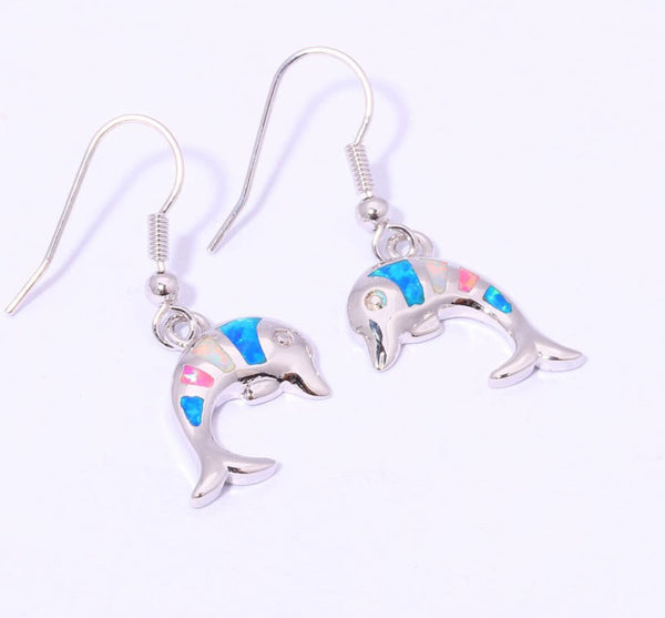 Rainbow Dolphin Drop Earrings - Luna's Warehouse