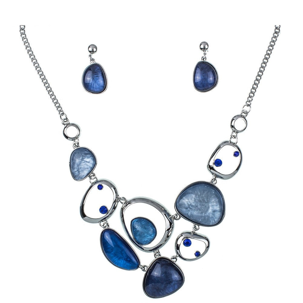 Layered Statement Necklace and Earring Set - Luna's Jewelry Warehouse - 9