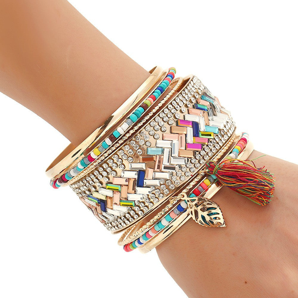 Stacked Pattern Bangle Bracelet Set - Luna's Jewelry Warehouse - 2