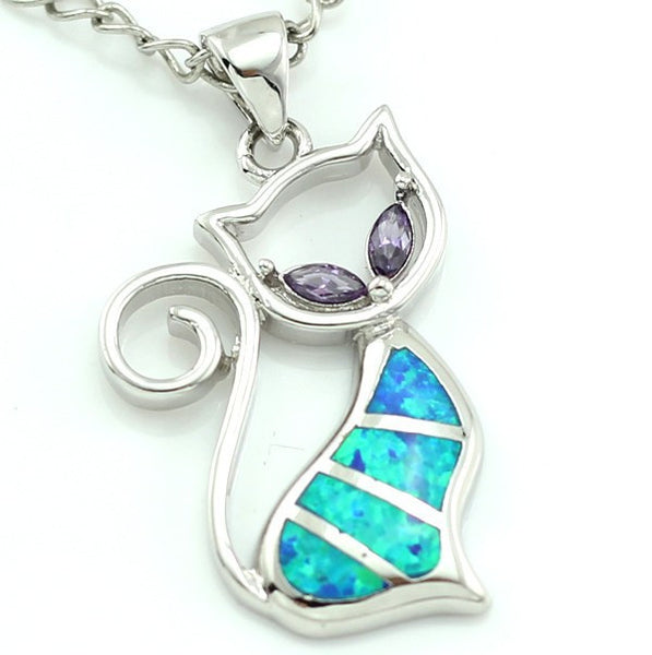 Fire Opal Cat Pendant with Crystal Eyes - Luna's Warehouse