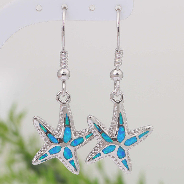 Starfish Fire Opal Drop Earrings - Luna's Warehouse