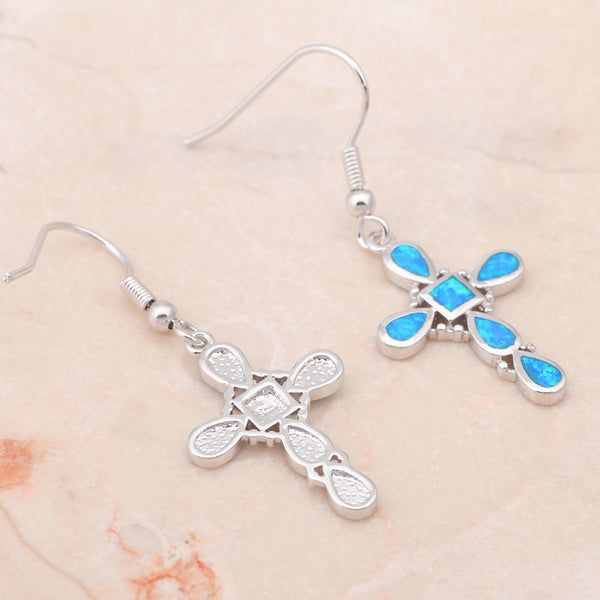 Blue Fire Opal Cross Drop Earrings - Luna's Warehouse