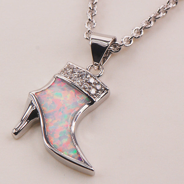 White Fire Opal Boot Pendant Necklace - Luna's Warehouse