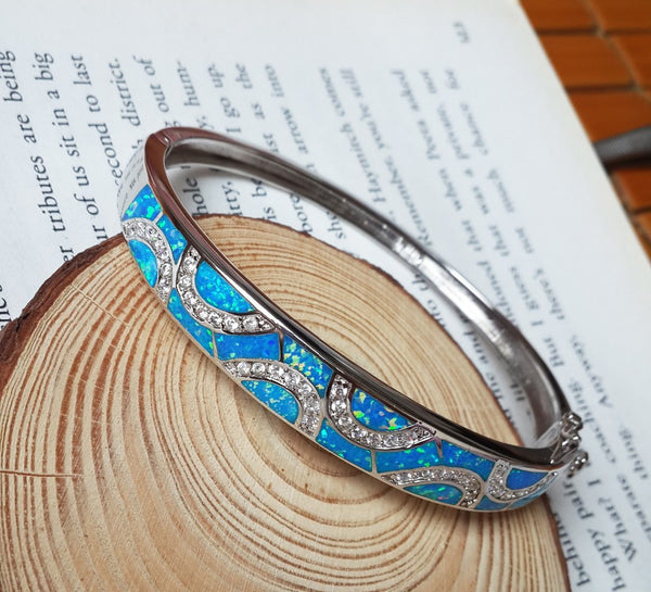 Embellished Fire Opal Bangle Bracelet - Luna's Warehouse