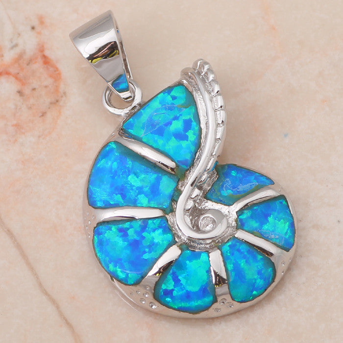 Fire Opal Sea Shell Pendant - Luna's Jewelry Warehouse - 1