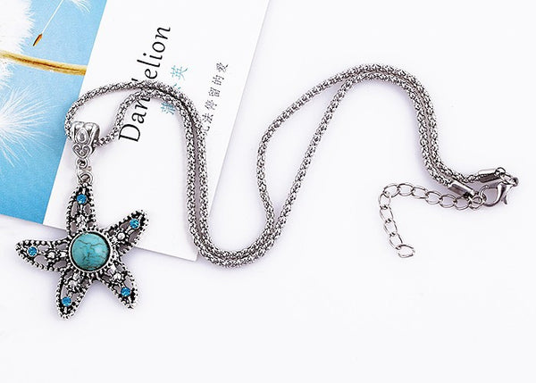 Turquoise Starfish Pendant Necklace - Luna's Warehouse
