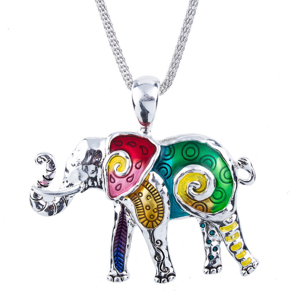 Multi Color Elephant Necklace and Earring Set - Luna's Warehouse