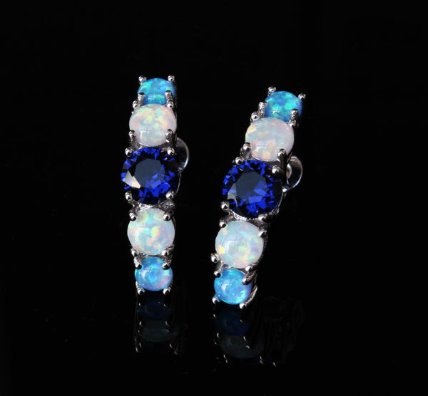 Fire Opal Half Hoop Earrings - Luna's Warehouse