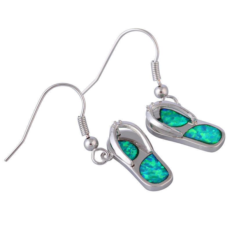 Flip Flop Fire Opal Earrings - Luna's Warehouse