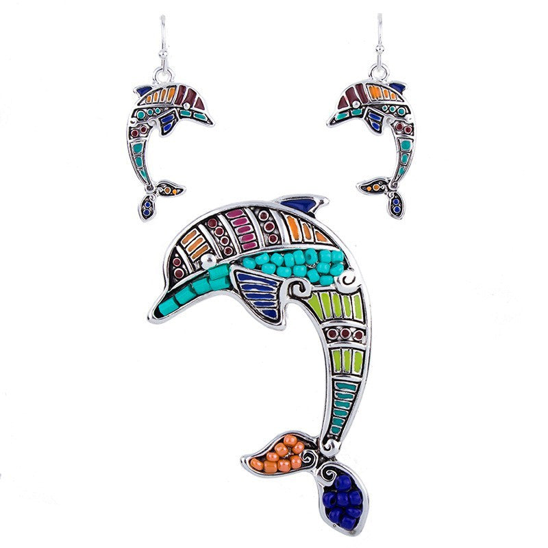Beaded Dolphin Pendant and Earring Set - Luna's Warehouse