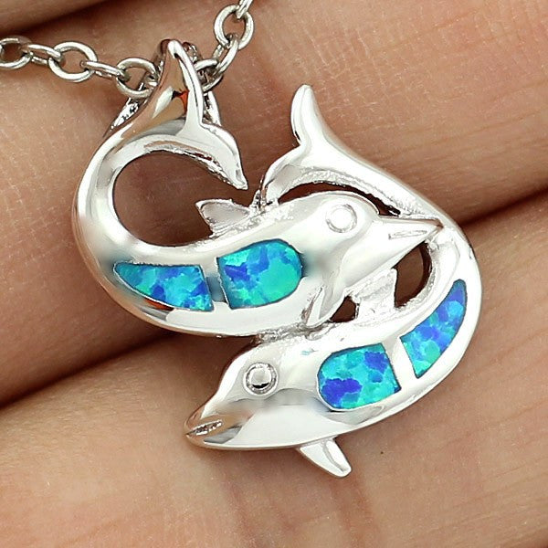 Double Dolphin Swimming Pendant Necklace - Luna's Warehouse