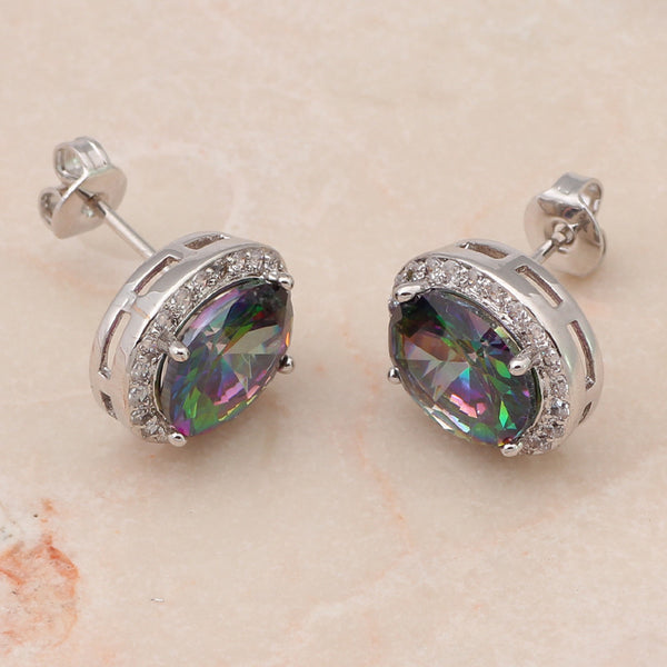 Embellished Rainbow Mystic Topaz Post Earrings - Luna's Warehouse