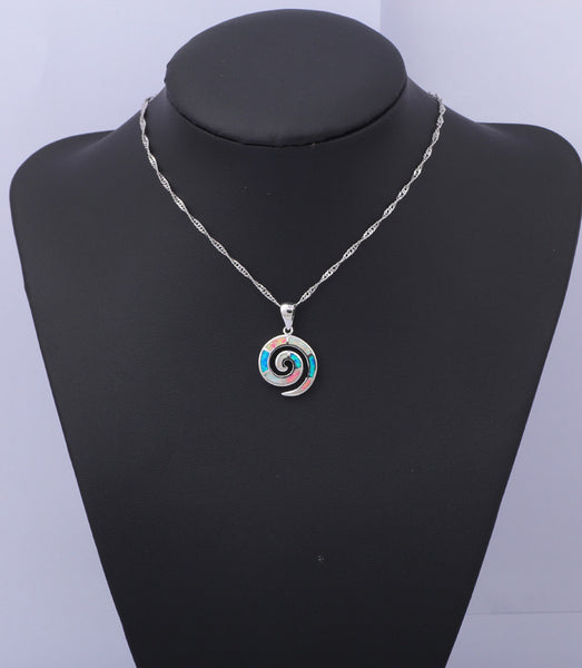 Tri Color Double Circle Fire Opal Pendant - Luna's Warehouse