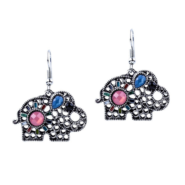 Elephant Adorned Drop Earrings - Luna's Warehouse