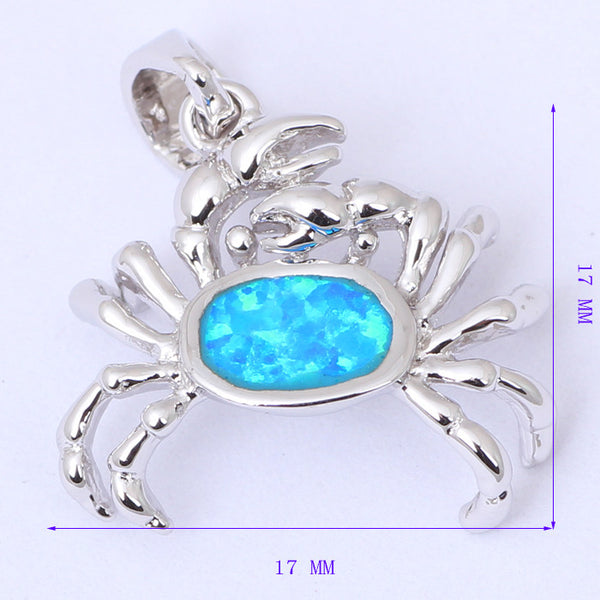 Blue Fire Opal Crab Pendant Necklace - Luna's Warehouse
