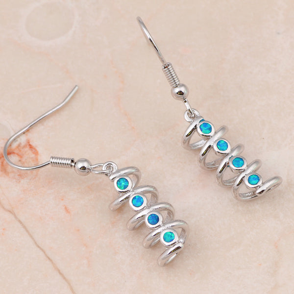 Corkscrew Fire Opal Drop Earrings - Luna's Warehouse