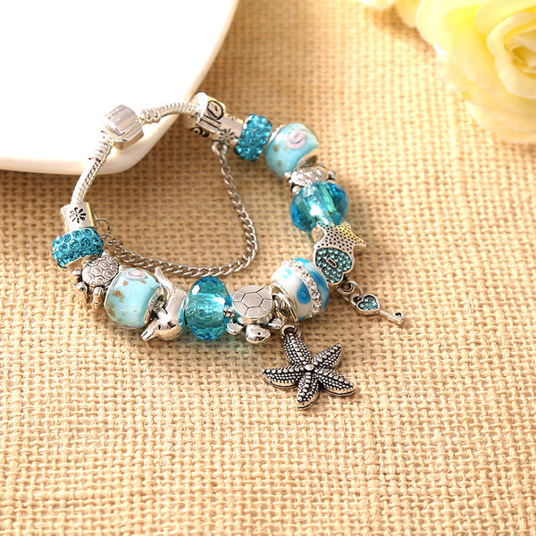 Beaded Starfish Charm Bracelet - Luna's Warehouse