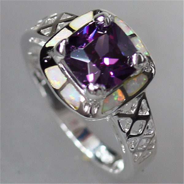 Amethyst and Opal Ring - Luna's Warehouse