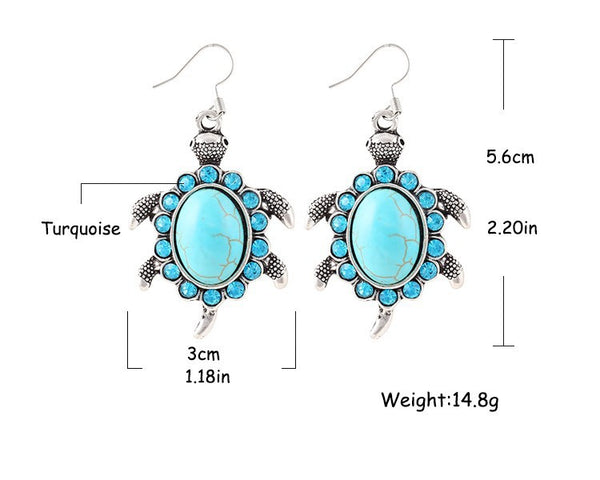 Turquoise Sea Turtle Drop Earrings - Luna's Warehouse