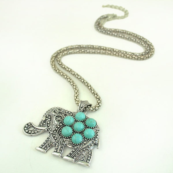 Turquoise Beaded Elephant Necklace - Luna's Warehouse