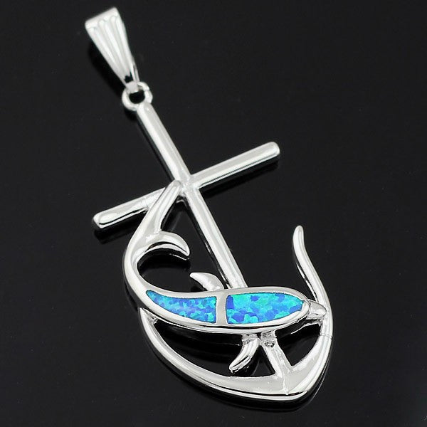 Dolphin with Anchor Pendant Necklace - Luna's Warehouse