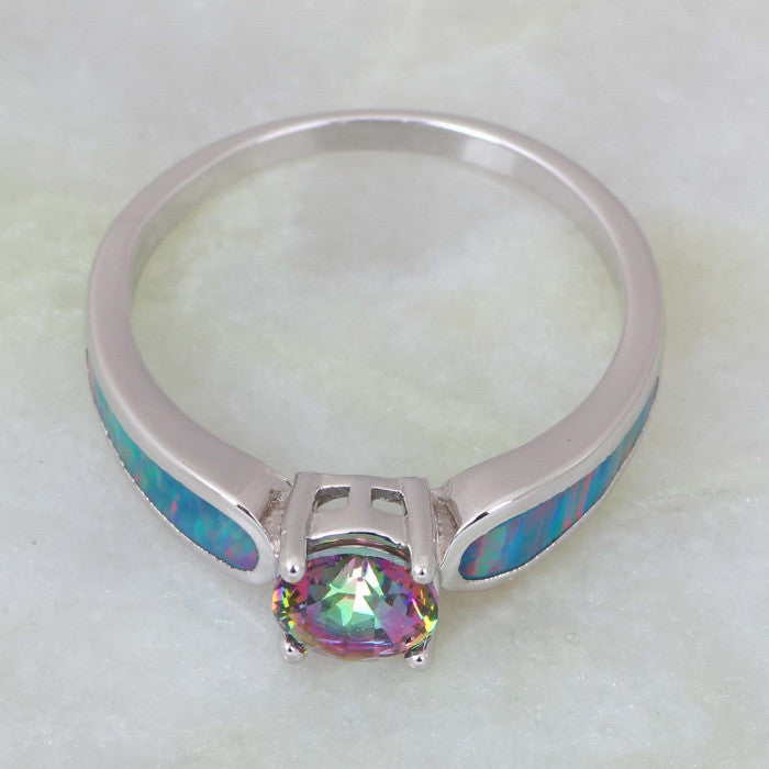 Mystic Topaz and Rainbow Fire Opal Ring - Luna's Warehouse