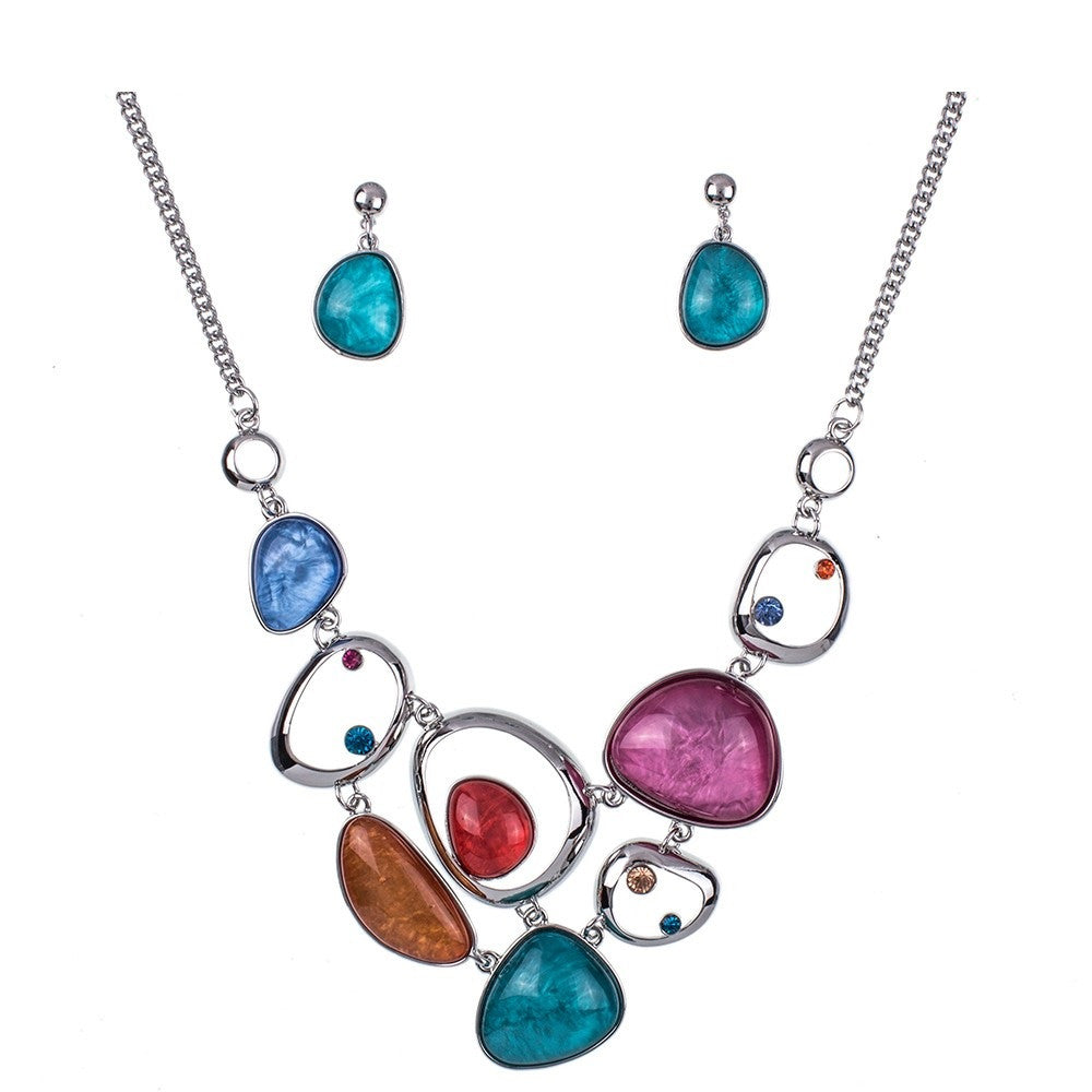 Layered Statement Necklace and Earring Set - Luna's Jewelry Warehouse - 1