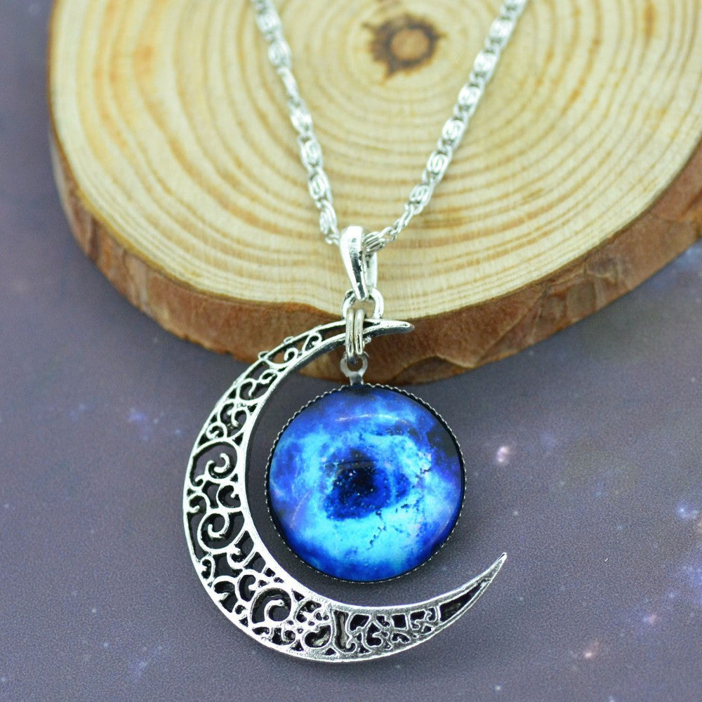 Crescent Moon Galactic Necklace - Luna's Warehouse