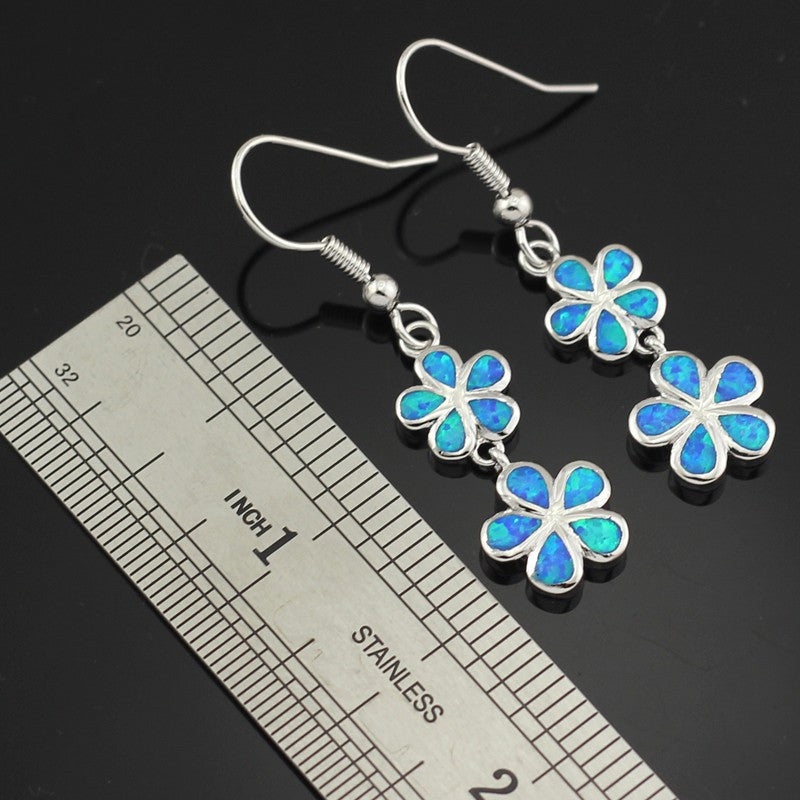 Blue Fire Opal Flower Drop Earrings - Luna's Warehouse