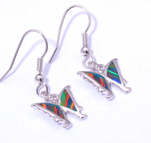 Red Rainbow Butterfly Drop Earrings - Luna's Warehouse