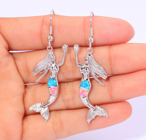 Rainbow Mermaid Drop Earrings - Luna's Warehouse