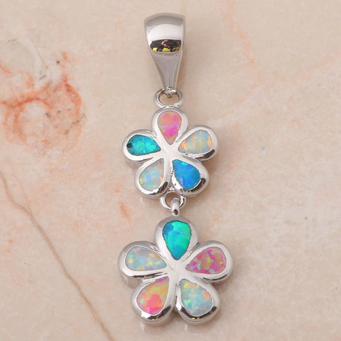 Fire Opal Flower Drop Pendant - Luna's Warehouse