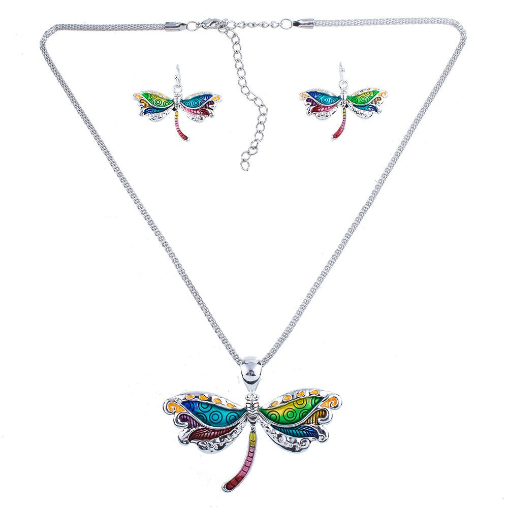 Multi Color Firefly Necklace and Earring Set - Luna's Warehouse