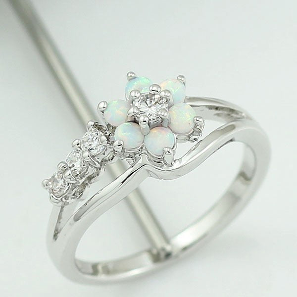 Opal Flower Ring - Luna's Warehouse