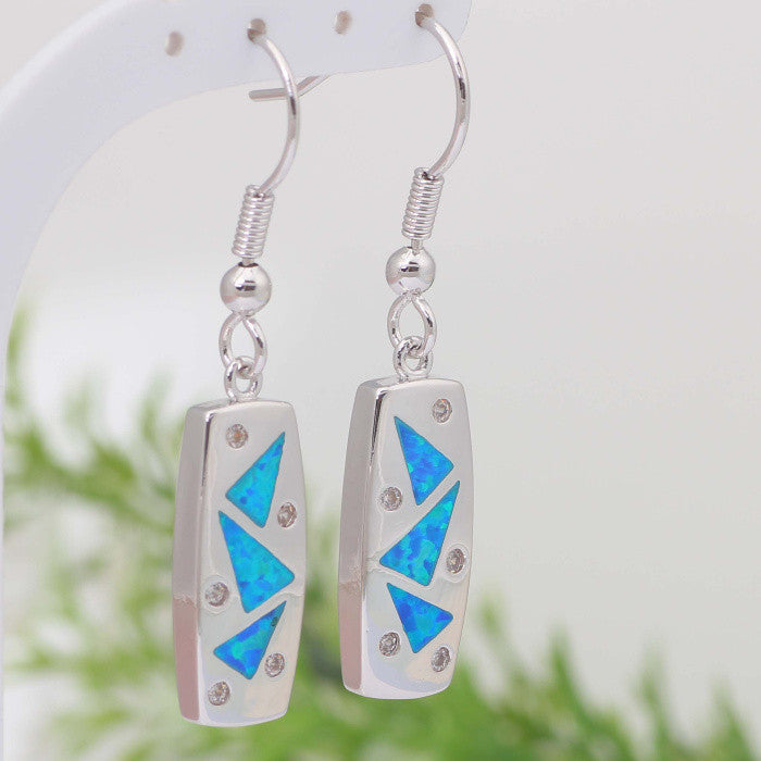 Geo Fire Opal Drop Earrings - Luna's Warehouse