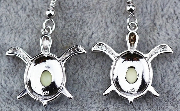 Two Tone Sea Turtle Drop Earrings - Luna's Warehouse