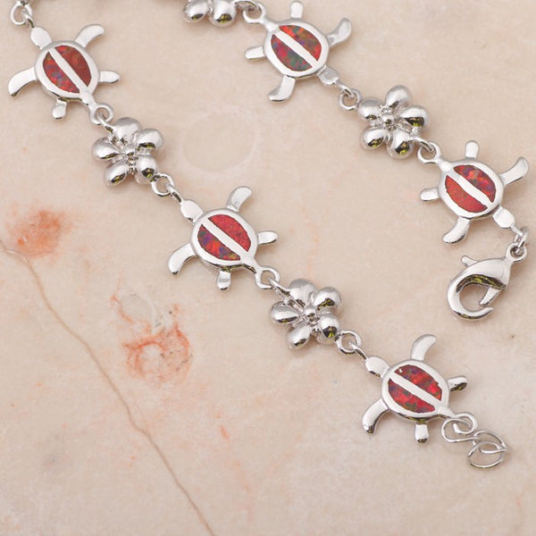 Fire Opal Turtle Link Bracelet - Luna's Warehouse