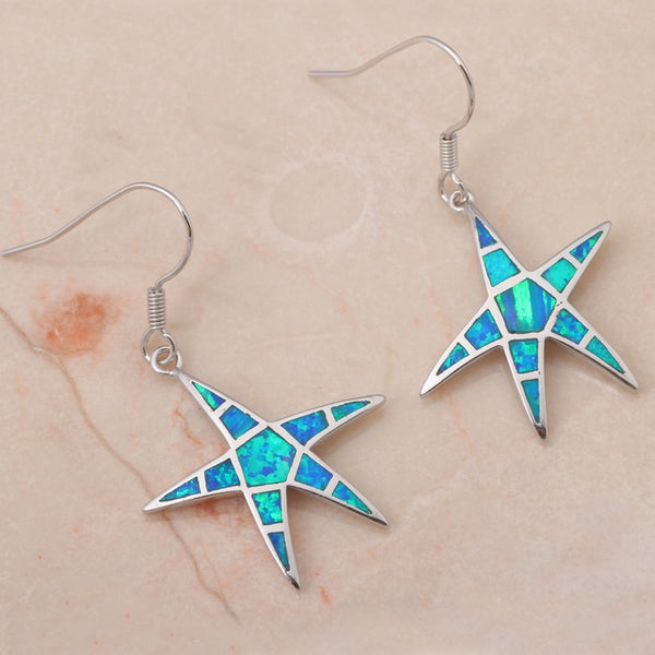 Pacific Starfish Fire Opal Drop Earrings - Luna's Warehouse